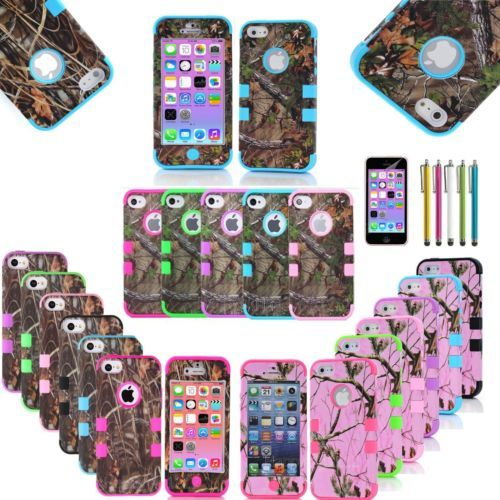 3 in 1 Straw Grass Mossy Camo Hybrid Hard Silicone Cover Case for iPhone 5C i like the pink anand blue and the green and pink!