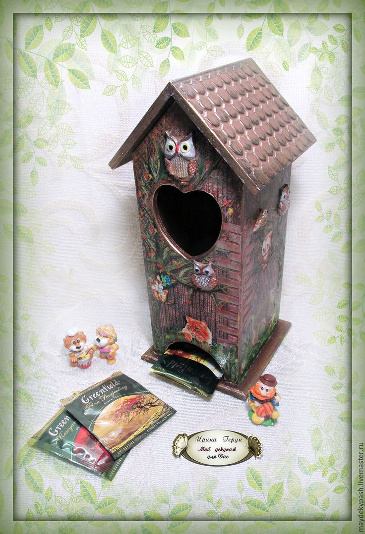 """Чайный домик """"Коты и совы"""" - коричневый, чайный домик, домик для чая Tea houses and boxes handmade"""