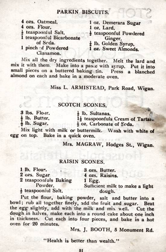 The Wigan Recipe Book, 1925