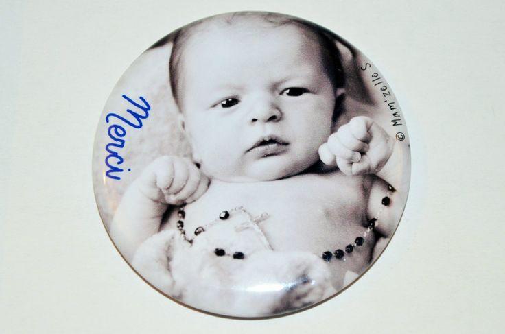 Remerciements de naissance // magnet à retrouver sur la boutique ici : http://www.alittlemarket.com/accessoires-a-accrocher/fr_faire_part_de_remerciement_de_naissance_magnet_personnalise_56_mm_-16934310.html