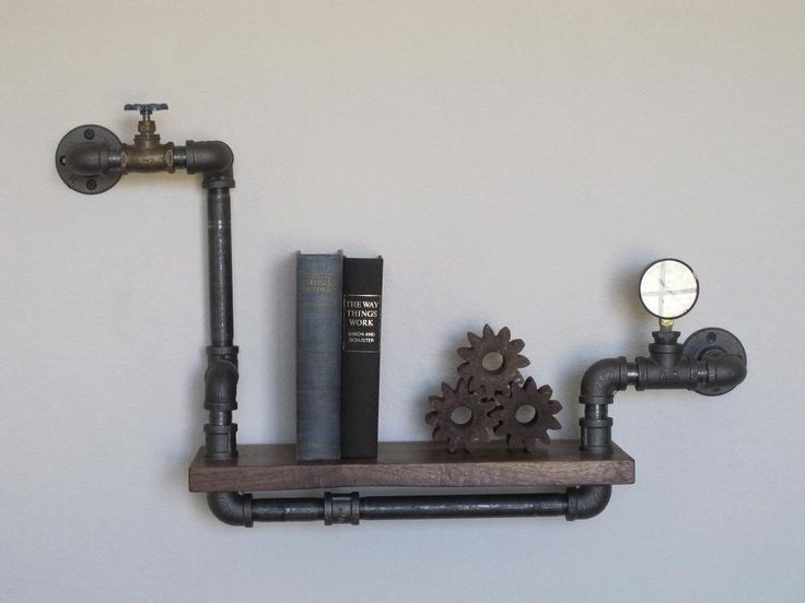 Industrial Plumbing Pipe Shelf - Stout Mini Single with Valve and Pressure Gauge. $209.00, via Etsy.