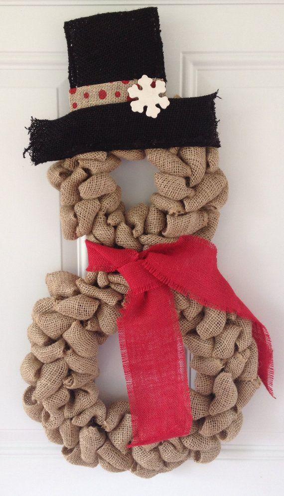 WANT Snowman wreath Burlap wreath Christmas wreath by TheCraftinBear