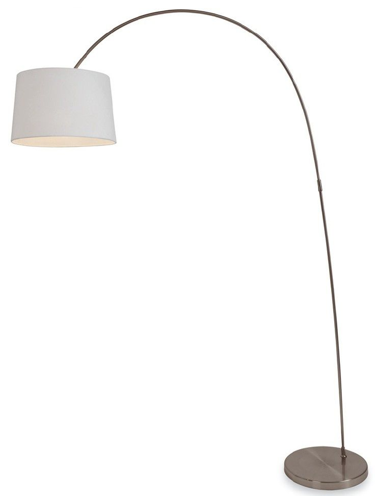 Swing Brushed Steel Arch Lamp With White Shade