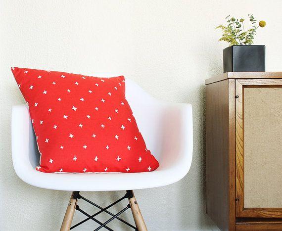 Bright Red Throw Pillow - Linen Toss Pillow - 18.5 x 18.5 in. - Poppy Plus Pattern Linens ...
