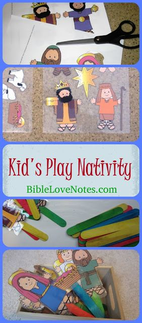 """This easy to make children's play nativity starts with a free printable from makingfriends. com. I put them on sticks so they could easy """"perform"""" as puppets."""