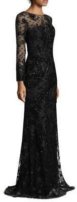 This is so Gorgeous!!!!   David Meister Embroidery Floral Tulle Floor-Length Gown #blackdress
