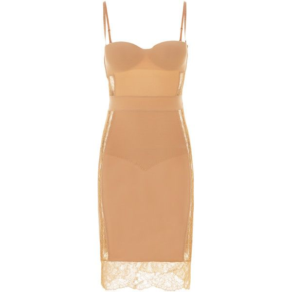 La Perla Shape-Allure Dresses ($668) ❤ liked on Polyvore featuring dresses, beige, long red dress, long cocktail dresses, long evening dresses, red dress and red lace dress
