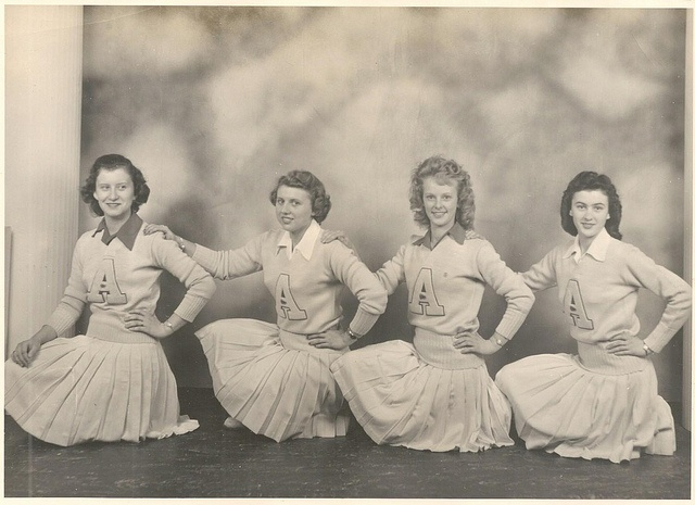 Cheerleaders c.1940s..WOW they're wearing clothes! :-)