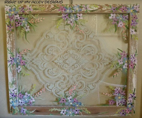 Old Painted Window Damask Stencil Floral Window Shabby Chic Antique Window Stenciled Window Vintage Window Window Painting Damask Stencil Shabby Chic Antiques