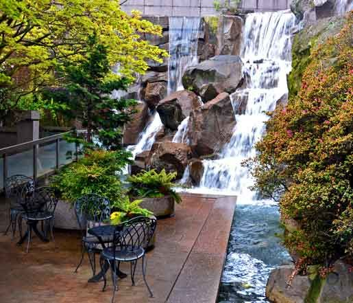 Seattle waterfall pocket park landscape by design for Urban waterfall design