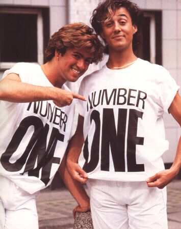 "Wham! George Michael & Andrew Ridgeley when their single became Number One with ""Wake Me Up Before You Go Go."""