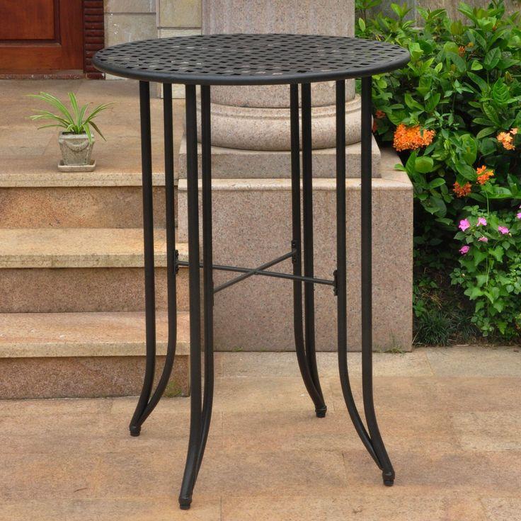International Caravan Mandalay Outdoor Iron Bar-height Table (Black), Patio Furniture