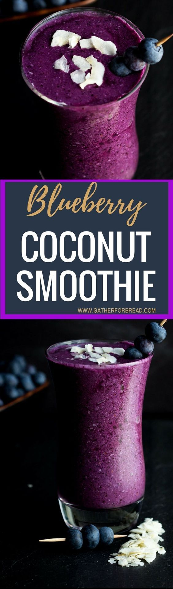A smooth, creamy blueberry smoothie made with coconut milk, flakes and antioxidants for a fresh way to start your day.