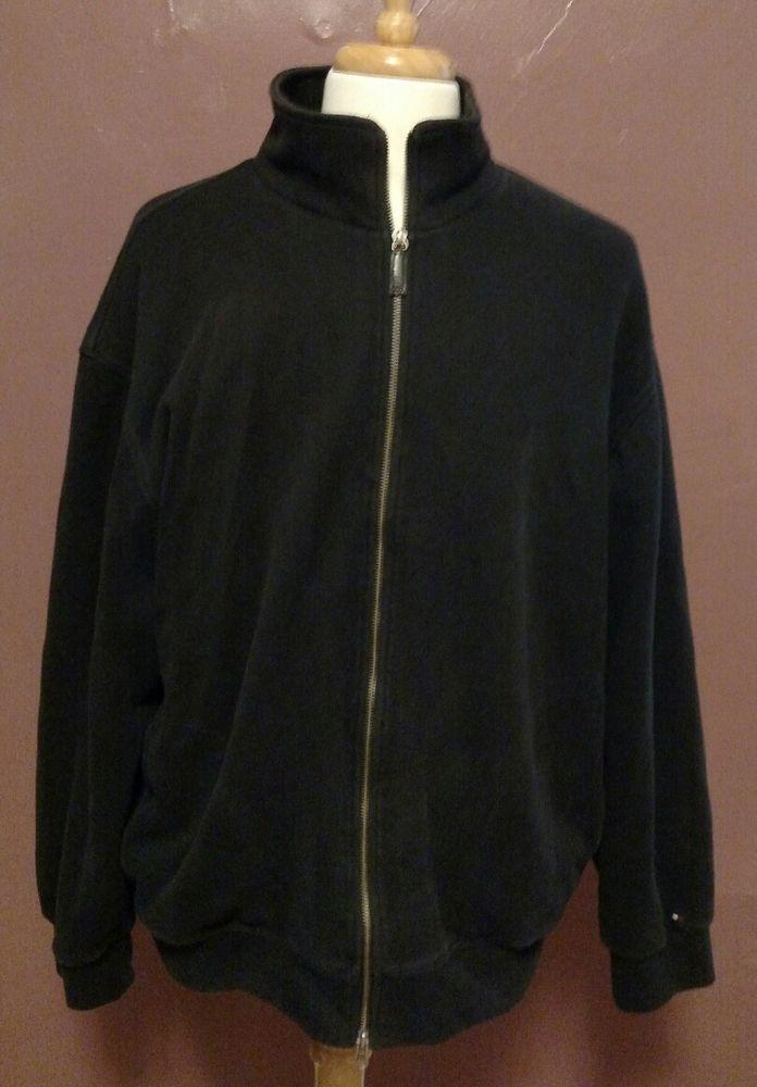 Tommy Hilfiger Navy Blue Heavyweight Lined Zippered Sweatshirt Size XXL #TommyHilfiger #TrackJacket