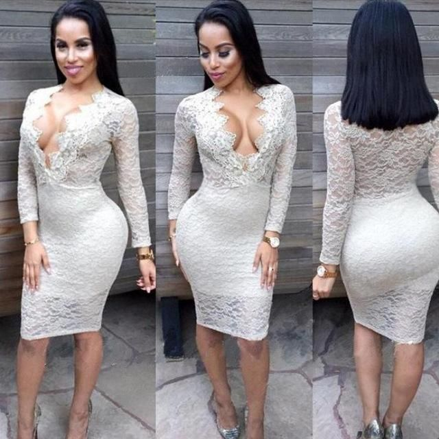 Autumn Winter Women Explosion Deep V Neck Long Sleeve Lace Hollow Perspective Dress Formal Dress 2