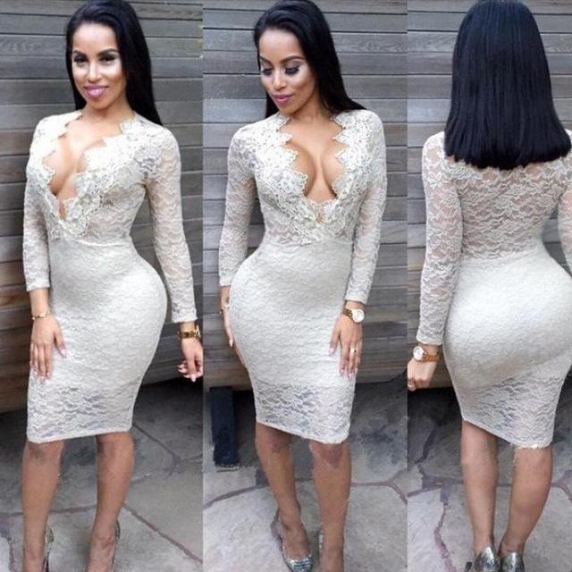 Autumn Winter Women Explosion Deep V Neck Long Sleeve Lace Hollow Perspective Dress Formal Dress