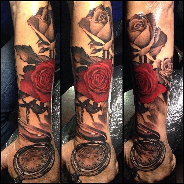 Rose and pocket watch tattoo. Forearm to hand( moved up so doesn't touch hand)