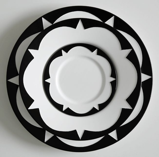 Sound Made Visible Ceramic Tableware: blakebrough + king. The patterns etched onto the plates and bowls are graphic representations of the geometric patterns sound frequencies make on water and salt (cymatics)