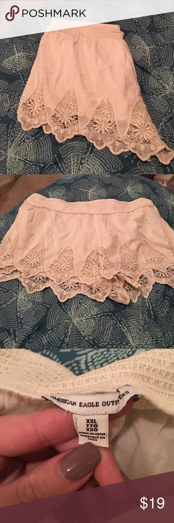 American Eagle Soft Lace Shorts Great condition! Off white/cream Lace Soft Shorts by American Eagle? Stretch waist band! American Eagle Outfitters Shorts