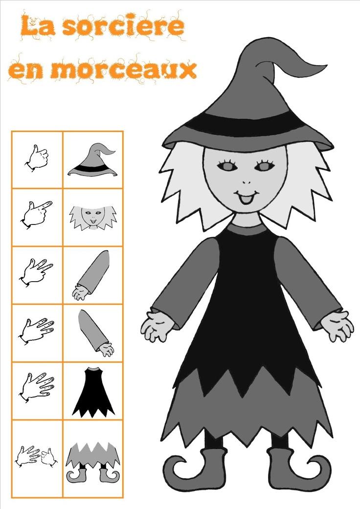 Jeu de numération sur le thème d'Halloween et de la Sorcière. Classe de MS/GS.