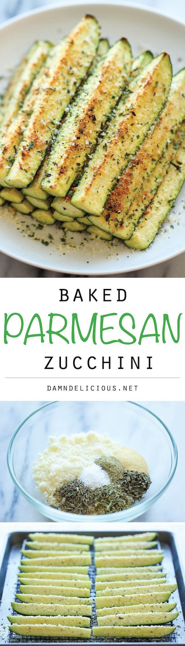 Baked Parmesan Zucchini Sticks - A healty vegetarian side dish