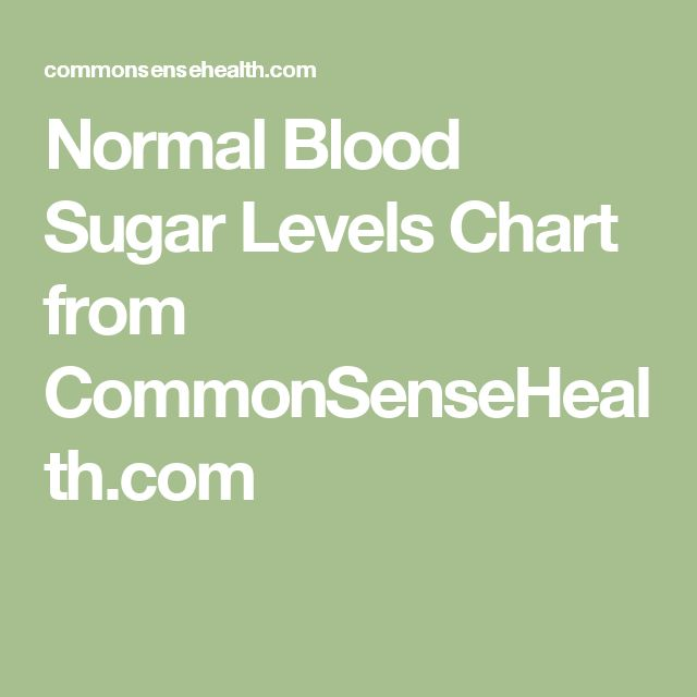Normal Blood Sugar Levels Chart from CommonSenseHealth.com