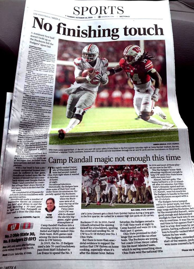 10-16-2016 WISCONSIN STATE JOURNAL SPORTS PAGE.