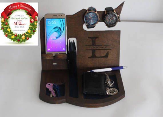 Personalized Docking Station Gift For Men, Wood docking Station Design  From Wedding Puzzle Shop phone stand holder, Gift For Him