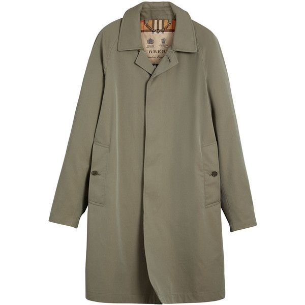 Burberry Trench Coat ($2,195) ❤ liked on Polyvore featuring men's fashion, men's clothing, men's outerwear, men's coats, green, mens slim fit coat, mens trench coat, mens slim trench coat, men's cotton sport coat and mens green sport coat