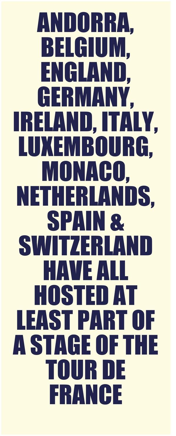 #Andorra, #Belgium, #England, #Germany, #Ireland, #Italy, #Luxembourg, #Monaco, #Netherlands, #Spain & #Switzerland have all hosted at least part of a stage of the Tour de France.  #France #cycling #bicycle #LeTour #TdF