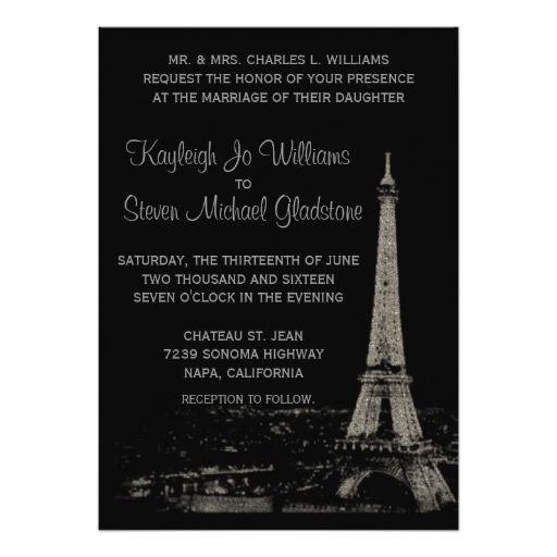 182 Best Paris Themed Wedding Invitations Images On Pinterest