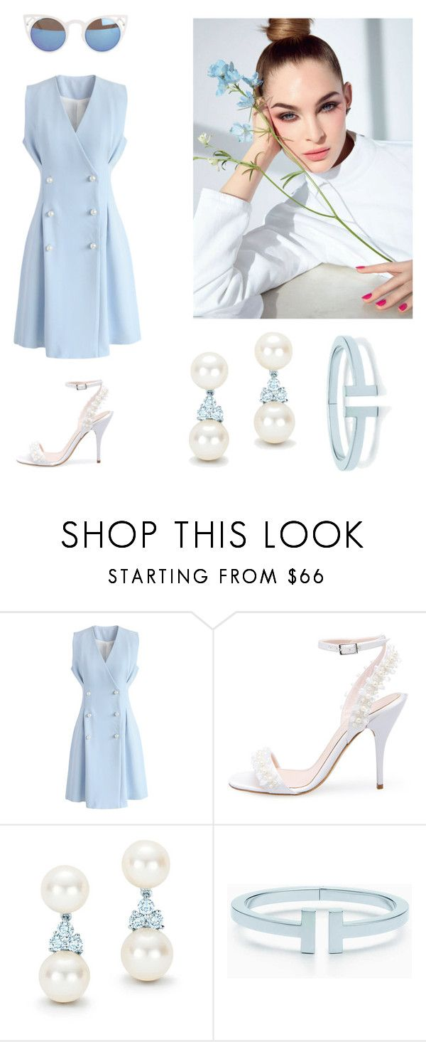 """""""Blue & White"""" by totalteenagenobody ❤ liked on Polyvore featuring Chicwish, Oscar de la Renta, Tiffany & Co., Elsa Peretti and Quay"""