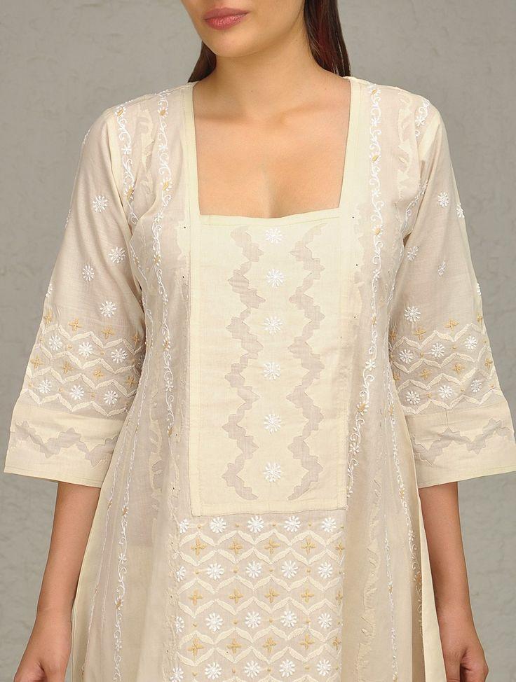 Buy Ecru Chikankari Tunic Online at Jaypore.com