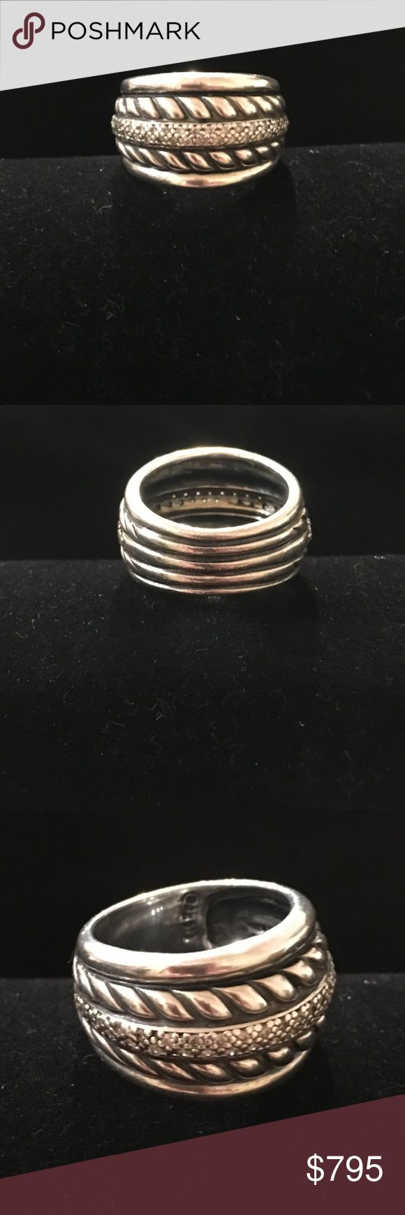David Yurman Thoroughbred SS Diamond Cable Ring David Yurman Thoroughbred Sterling Silver and Diamond  Cable Ring Gently Worn.            Size 7 David Yurman Jewelry Rings