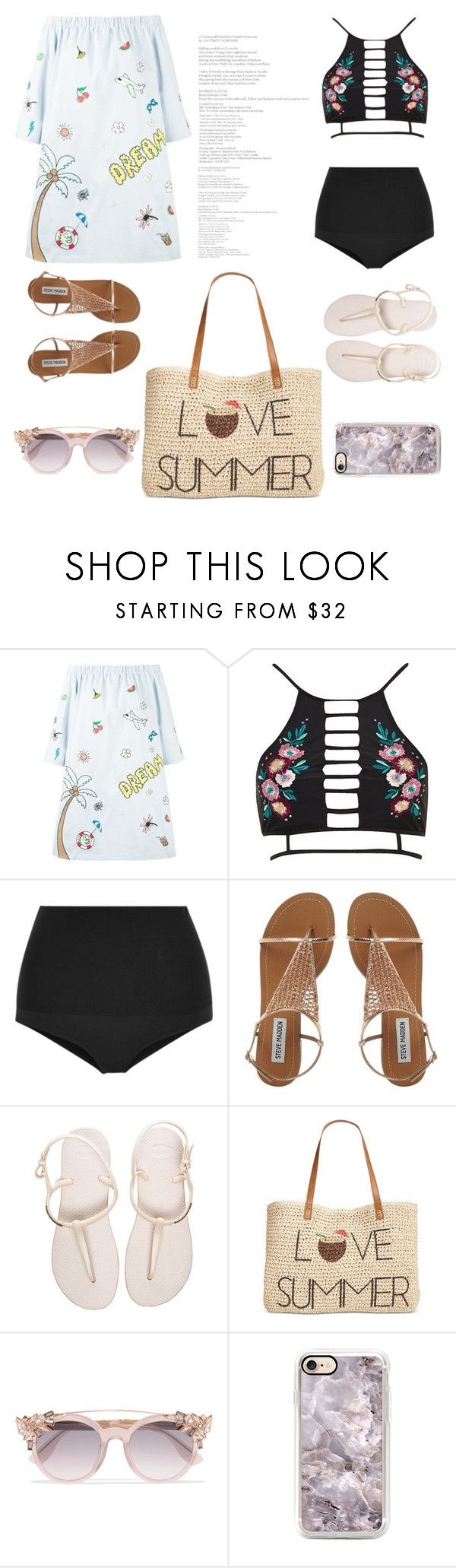 """""""Love Summer"""" by ingrid-prisacariu ❤ liked on Polyvore featuring Mira Mikati, River Island, Eres, Havaianas, Style & Co. and Jimmy Choo"""