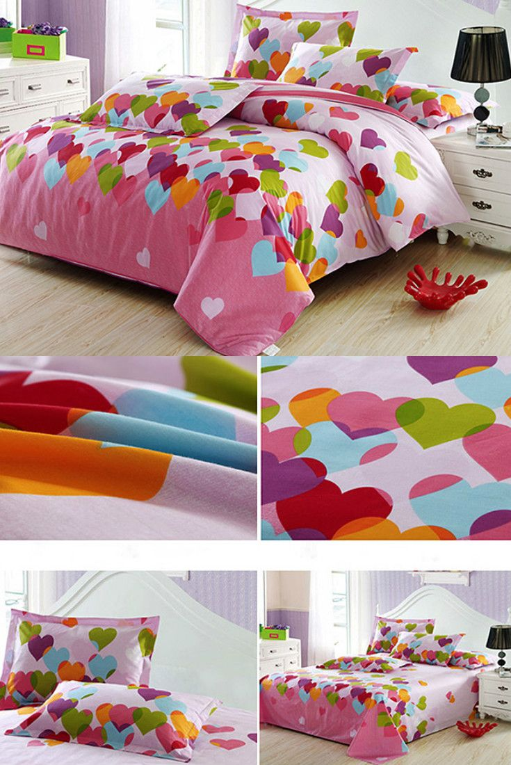 Adorable heart shape pattern 4-Piece cotton kids duvet cover sets. Add a sweet and warm touch to your princess bedroom :)