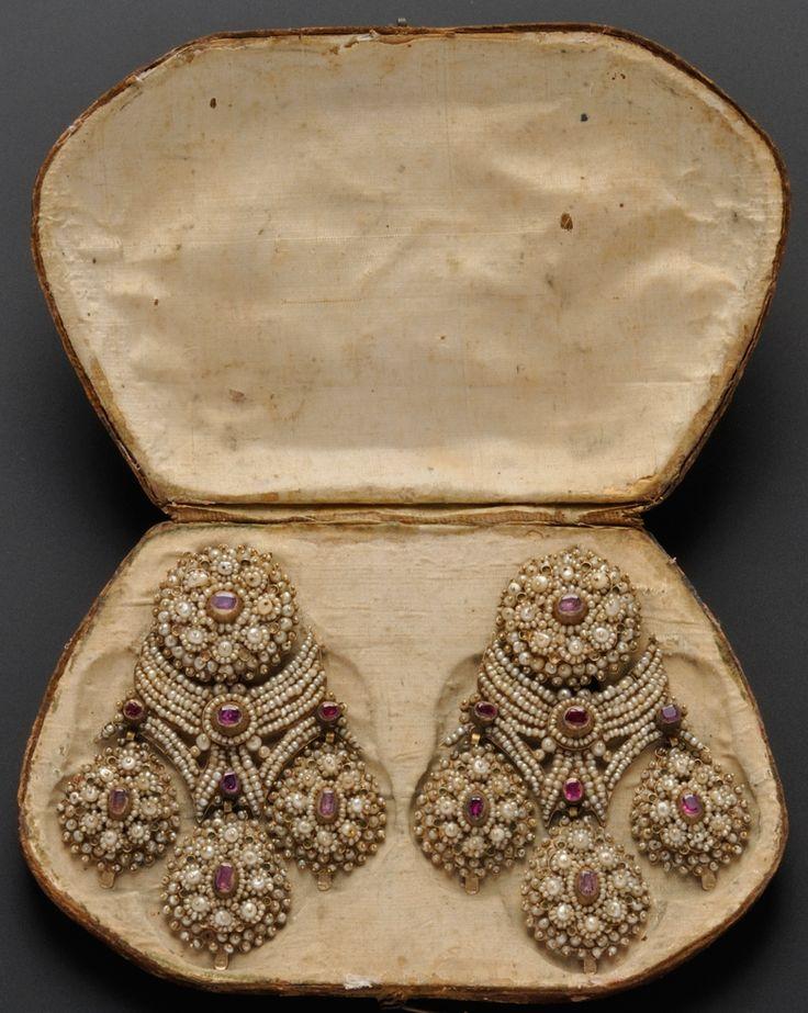 Earrings; Antique, Italian, Girandole Pendants, Ruby & Seed Pearls on Gold Mounts, Box, 4 inch. Circa 1735 -1765.
