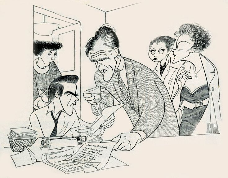 "Al Hirschfeld ~ Montgomery Clift, Robert Ryan, Maureen Stapleton, Dolores Hart, and Myrna Loy in ""Lonelyhearts"""
