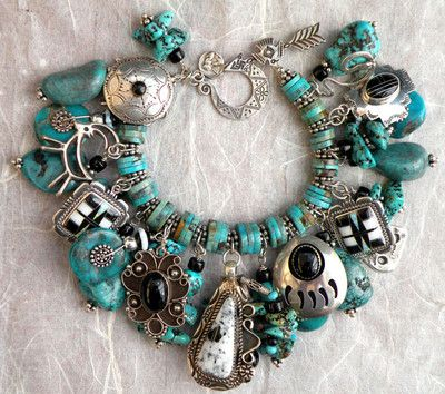 turquoise Native American charm bracelet - Love this! Love charm braclets....have always wanted one