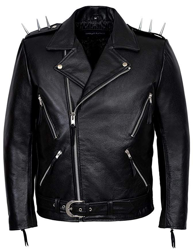 Ghost Rider Men S Black Metal Spikes Motorcycle Cowhide Leather Jacket Review Ghost Rider Leather Jackets Online Leather Jacket