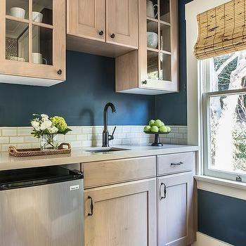 Beige Oak Cabinets with Blue Walls   Beige kitchen, Beige ...