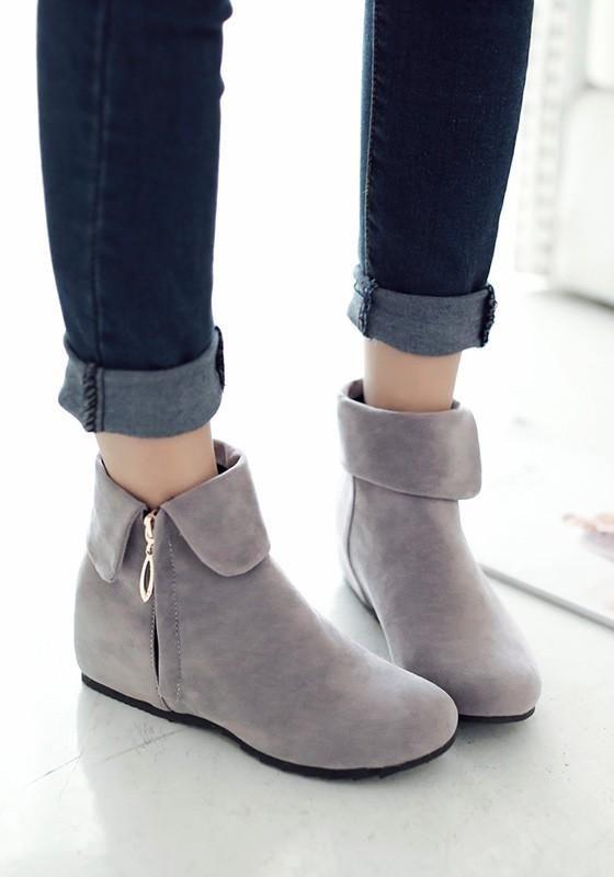 New Women Grey Round Toe Flat Zipper