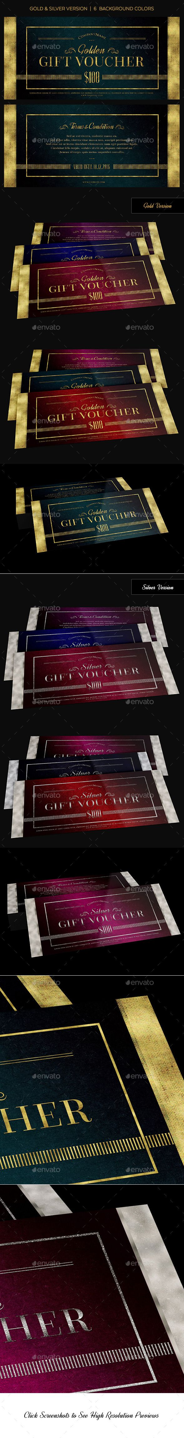 Gold & Silver Gift Voucher Template PSD #design Download: http://graphicriver.net/item/gold-silver-gift-voucher/14036423?ref=ksioks