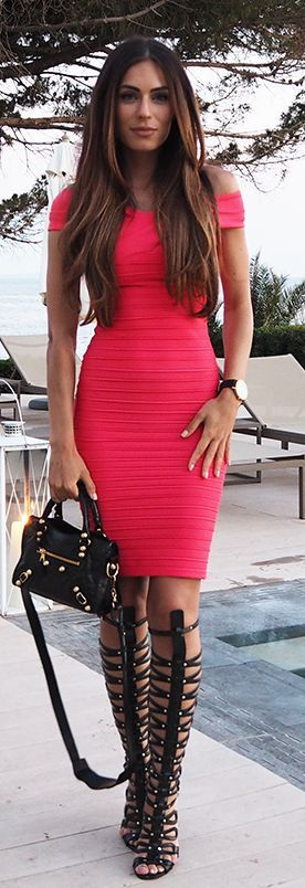 Bodycon Dress And Gladiator Styling