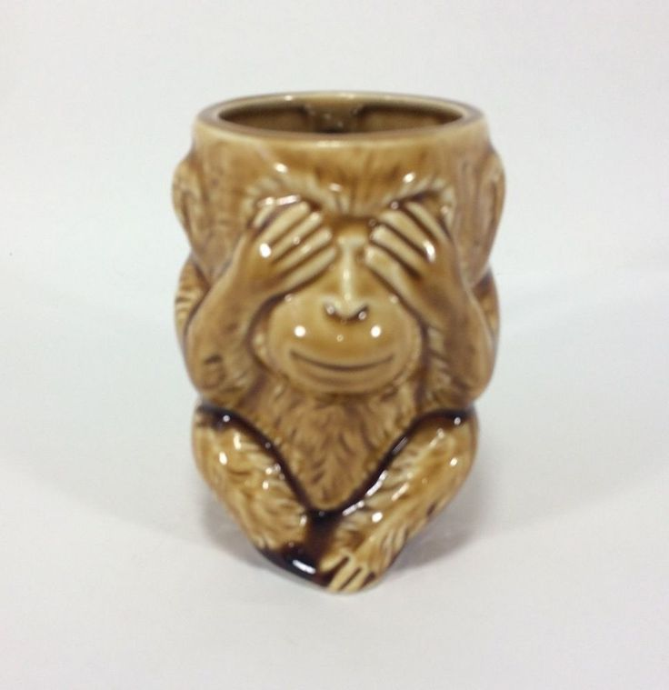 Lefton Mug Monkey Image ESD Japan Hand Painted Vintage See No Evil Monkey  #ESD