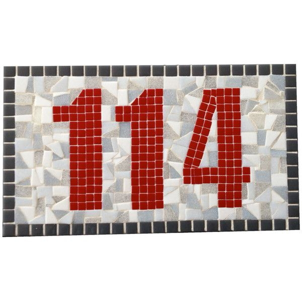 Address Plaque Mosaic Sign Red and Gray House Numbers (€67) ❤ liked on Polyvore featuring home, outdoors, outdoor decor, grey, home & living, outdoor & gardening, outdoor welcome sign, outdoor digital signs, personalized garden signs and asian garden decor