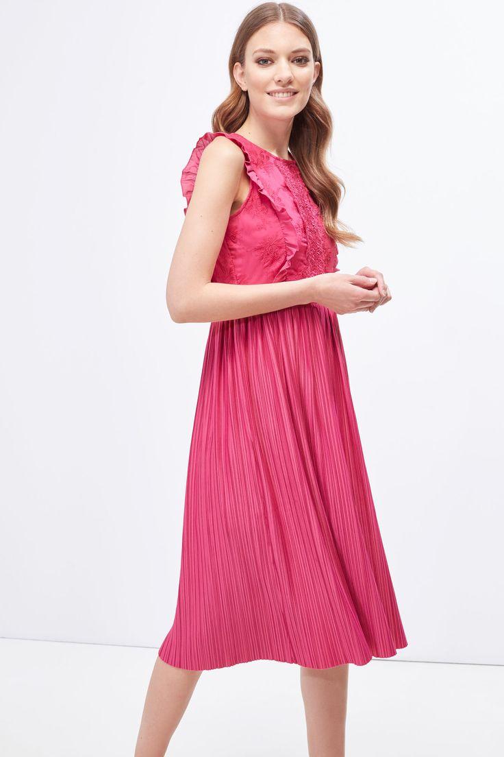 Cortefiel Vestido falda plisada Rosa