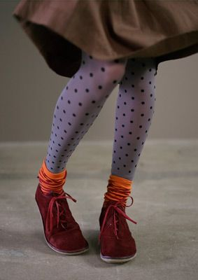 Resolution #15: Get adventurous! Don't be afraid to pair socks and patterned tights for a playful ensemble.