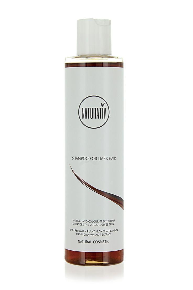 Szampon do Włosów Ciemnych NATURATIV łagodnie myje i jednocześnie dodaje koloru włosom ciemnym.  Szampon przeznaczony jest do włosów w kolorze naturalnym lub farbowanych. Również do pielęgnacji włosów siwych.  Włosy ciemne stają się rozświetlone, odrobinę ciemniejsze. Znakomicie maskuje też niewielkie odrosty. Efekt rozświetlenia i pogłębienia koloru kumuluje się po wielu użyciach.