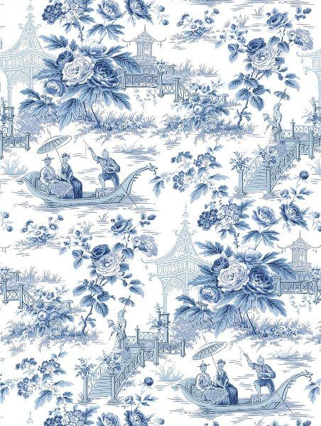 Oriental garden toile wallpaper china blue and white lou for Chinese style wallpaper uk
